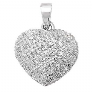 9ct white Gold 0.11ct Diamond set heart pendant